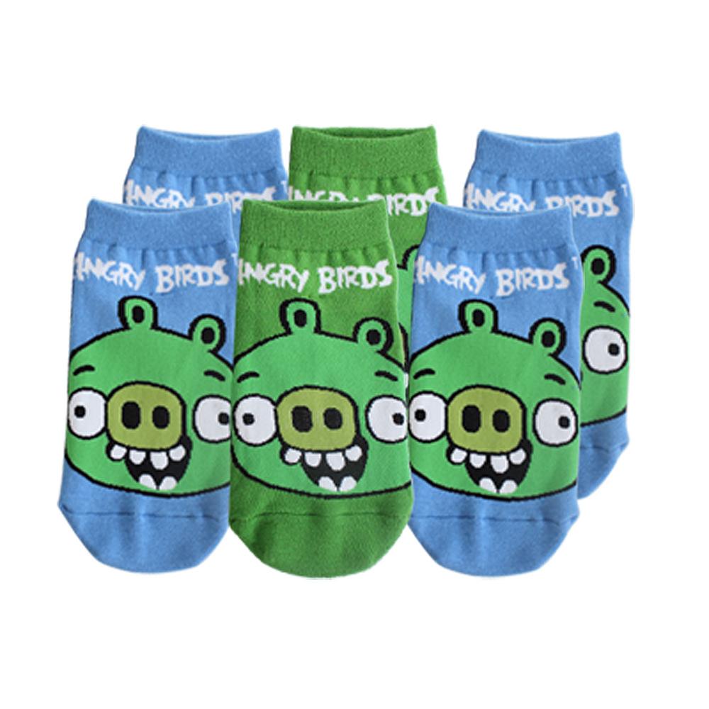 AngryBrids憤怒鳥-豬頭棉質童襪6入(15-22cm)