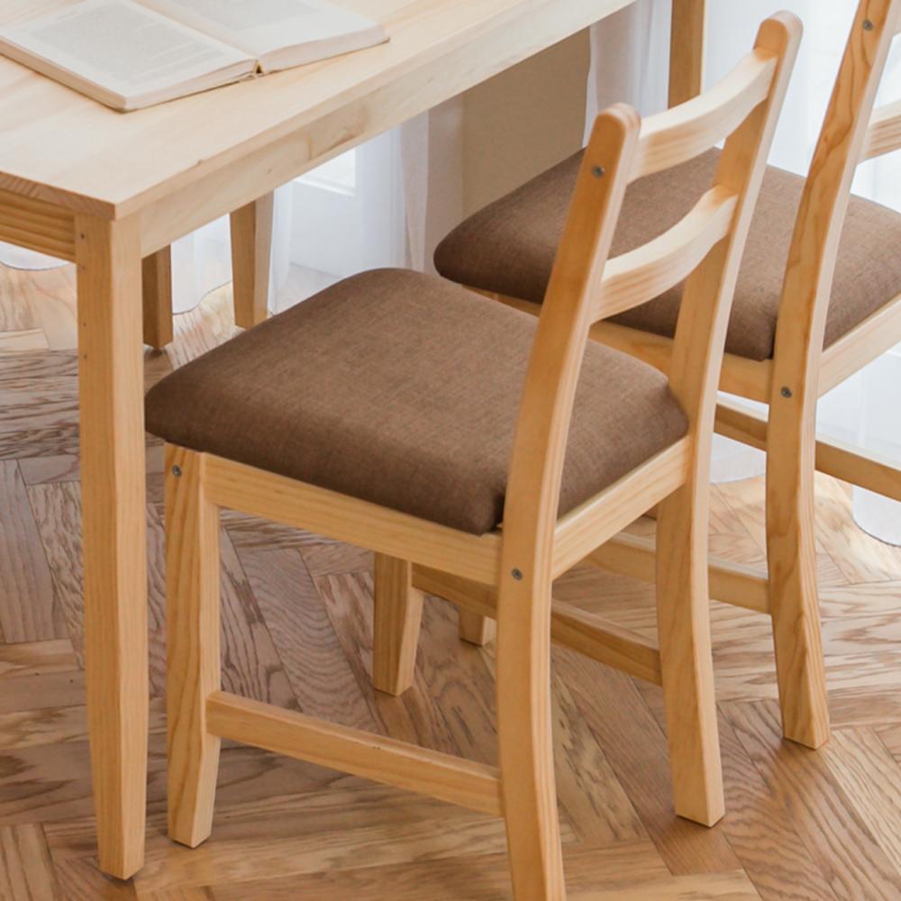 CiS自然行實木家具- 北歐實木餐椅(扁柏自然色)深咖啡椅墊
