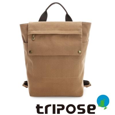 tripose-TIME系列斜紋帆布肩背後背包-駝