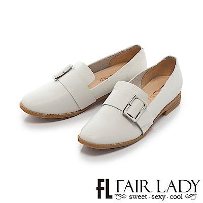 Fair Lady 學院風方型釦帶平底樂福鞋 白