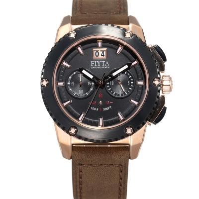 FIYTA 飛亞達 紳士粗獷系列石英腕錶-黑x深咖啡色錶帶/46mm