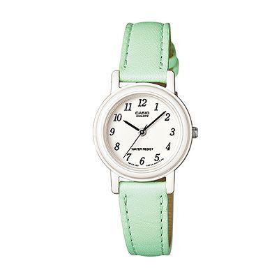 CASIO 馬卡龍甜心魅力皮帶腕錶-粉嫩綠/26mm