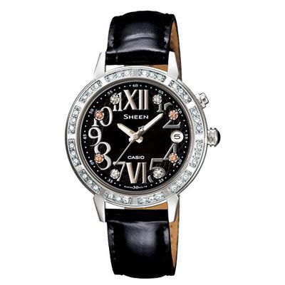 CASIO SHEEN系列 璀璨優雅三眼星空腕錶-黑-31mm