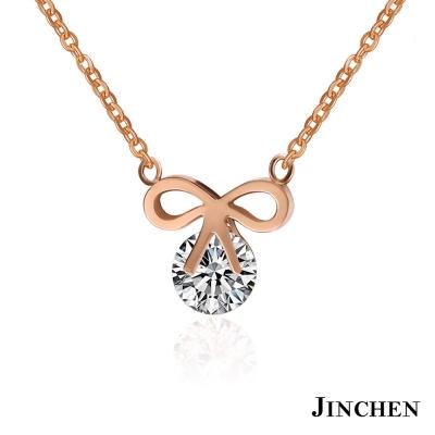 JINCHEN 白鋼蝴蝶結女性項鍊-玫瑰金