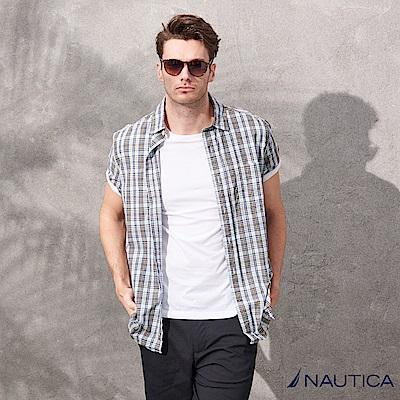 Nautica簡約格紋短袖襯衫-藍