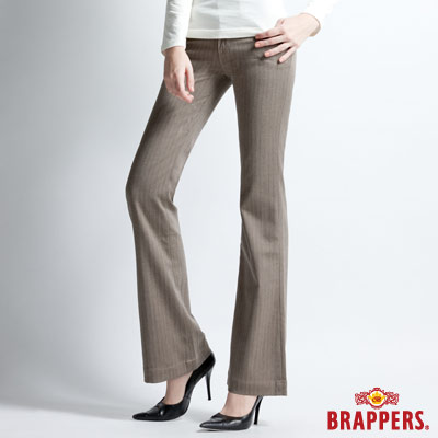 BRAPPERS 女款 新美腳Royal系列-女用彈性寬版直條紋大喇叭褲-淺咖啡