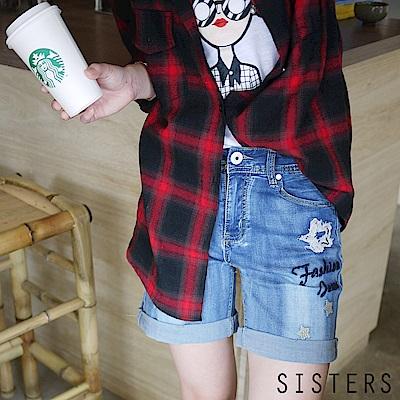 破破感星星水洗刷色牛仔褲短褲(XL-3L) SISTERS