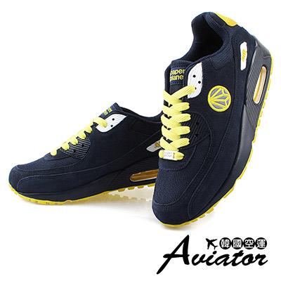 Aviator*韓國空運-韓國品牌多色氣墊女運動鞋-藍黃