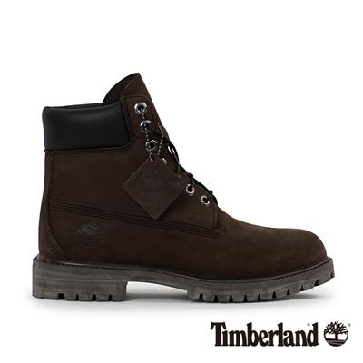 Timberland 男款深褐色素面防水高筒靴