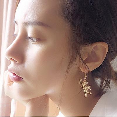 Hera 赫拉 丘比特愛神天使之劍不對稱長款耳針/無耳洞耳夾