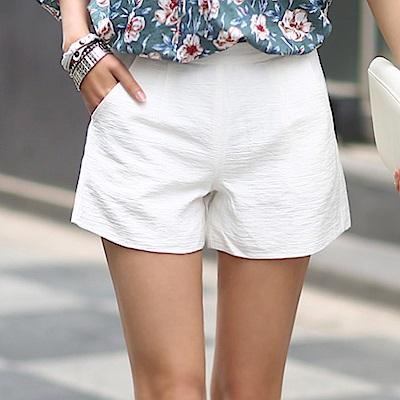 正韓 純色紋理高腰寬管短褲 (共二色)-N.C21