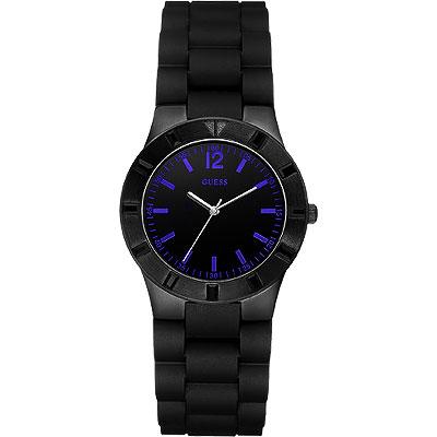 GUESS 就是愛搶眼時尚腕錶-黑/藍時標/34mm