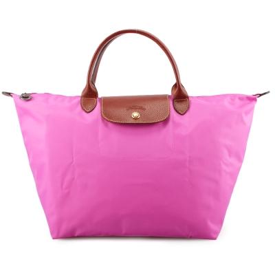 Longchamp 折疊中型短把水餃包-桃粉紅