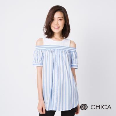 CHICA 氣質清新條紋拼接假兩件露肩上衣(3色)
