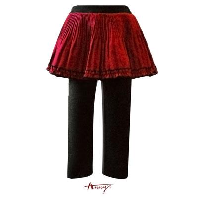 可愛束口荷葉壓褶褲裙*4657紅
