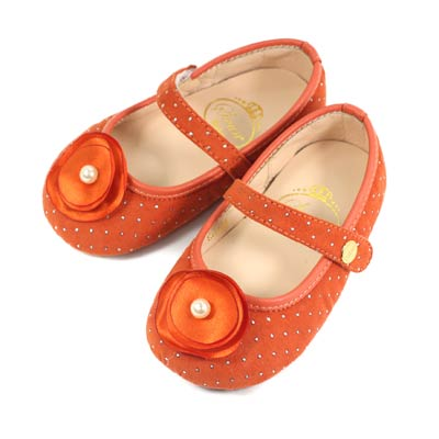 Swan天鵝童鞋-花朵金色圓點寶寶學步鞋1559-桔