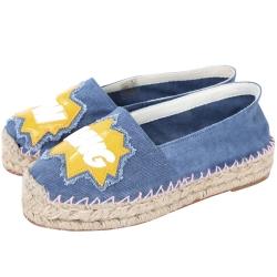 Chiara Ferragni Pow Bang 動漫文字設計帆布草編鞋(藍色)