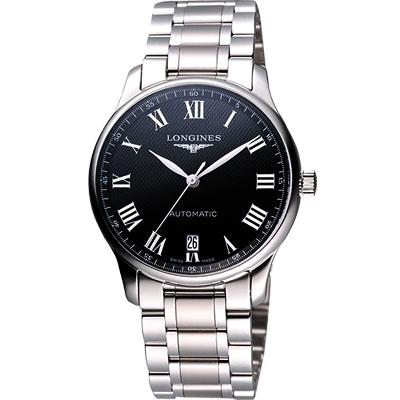 LONGINES Master 羅馬大三針日期機械腕錶-黑/38.5mm L26284516