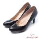 CUMAR優雅拼接-異材質拼接高跟鞋-黑