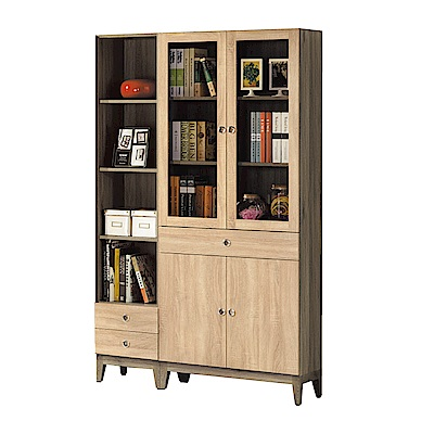 品家居 馬丁4尺木紋雙色書櫃組合-120x31.8x197.6cm免組