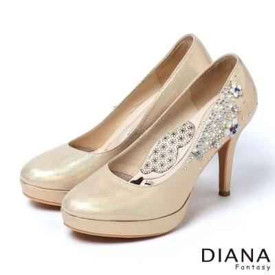DIANA-超厚切LADY款-手工花叢鑲鑽新娘跟鞋