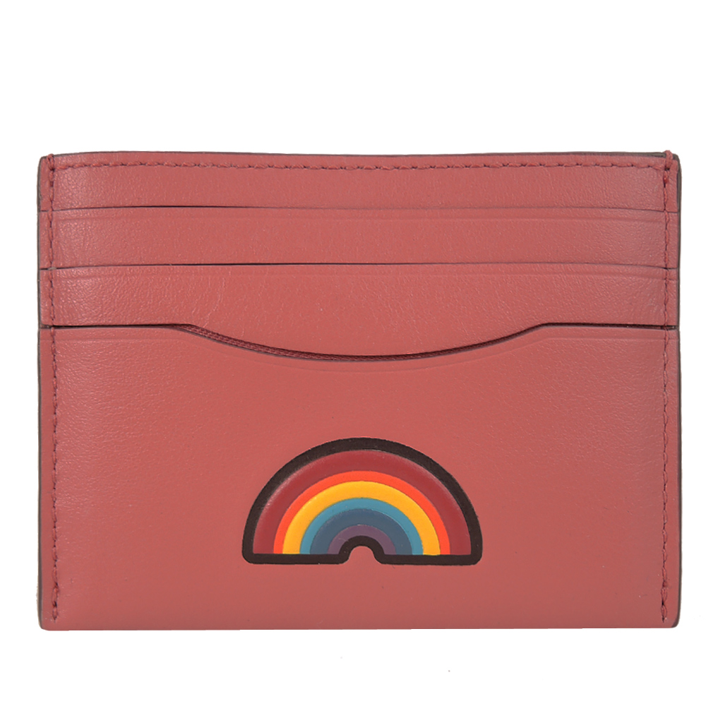 COACH彩虹卡全皮卡片證件夾珊瑚紅