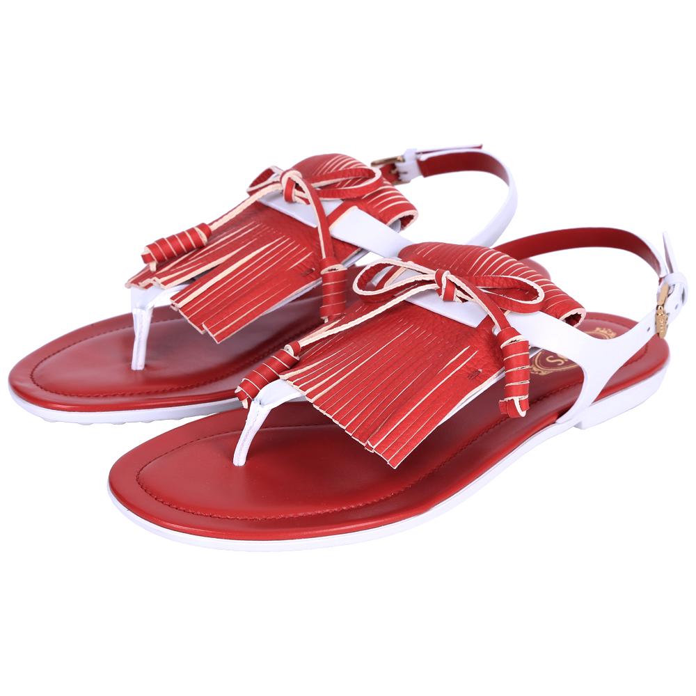 TOD'S 拼色流蘇夾腳平底涼鞋(紅x白)