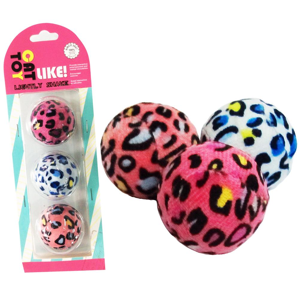 寵喵樂 逗貓玩具-馬卡豹紋絨布球3顆/組 十入組