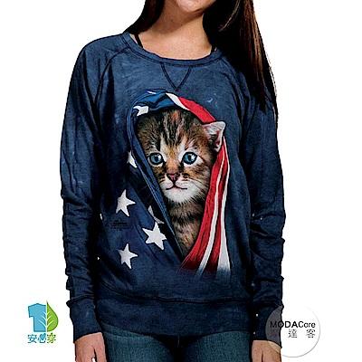 摩達客 美國The Mountain 愛國小貓 女版休閒長袖T恤