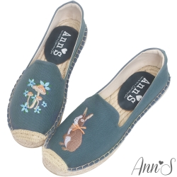 Ann'S兔子森林手繪刺繡草編鞋