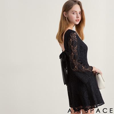 AIR SPACE 緹花蕾絲綁帶露背洋裝(黑)