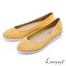 Loveyaya - 耐走輕量真皮雕花平底休閒鞋 - 嫩黃