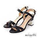 Minelli--義大利製造 全真皮交叉金屬粗跟高跟鞋-都會黑