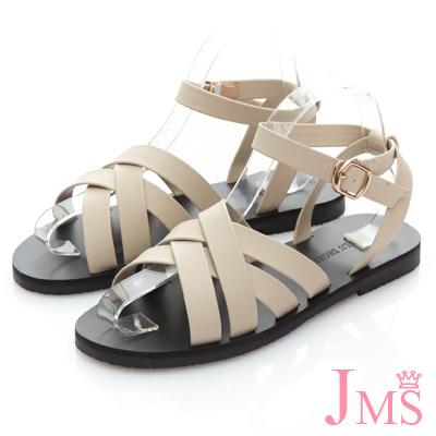 JMS-優閒度假風層次感交叉環踝平底涼鞋-米色