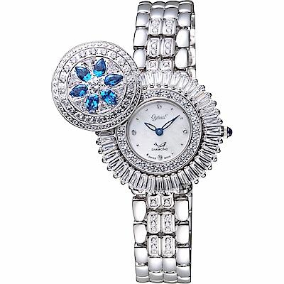Ogival愛其華 花開富貴真鑽珠寶錶-珍珠貝x銀/32mm