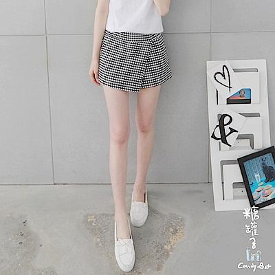 糖罐子-韓品 縮腰口袋斜接布格紋褲裙(黑白)