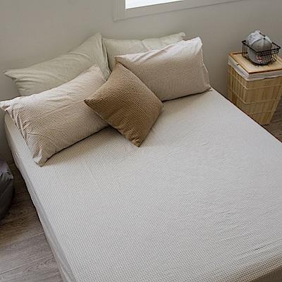 翔仔居家 枕套床包組 雙人 新疆棉麻混織-小格咖 台灣製