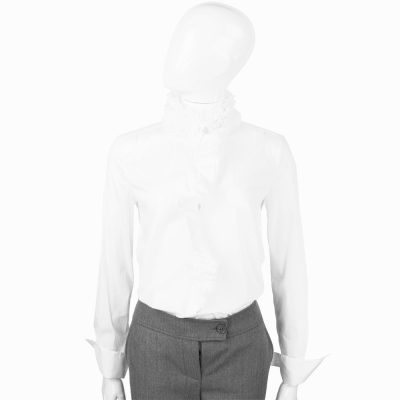 SCERVINO 白色荷葉領造型長袖襯衫