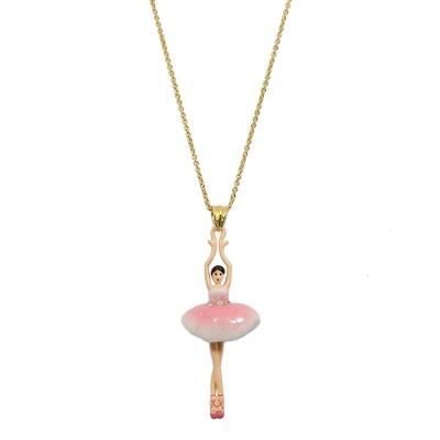 Les Nereides 優雅芭蕾舞女孩系列 水鑽澎澎裙女孩金色項鍊 漸層粉色