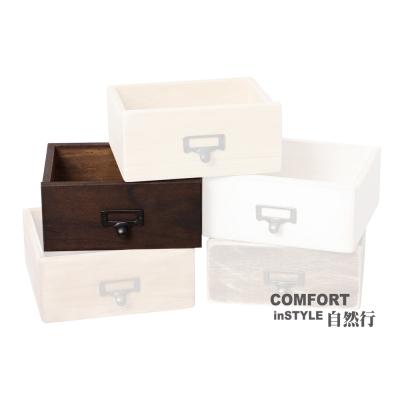 CiS自然行實木家具 工業風收納抽屜M款一入(胡桃咖啡色)