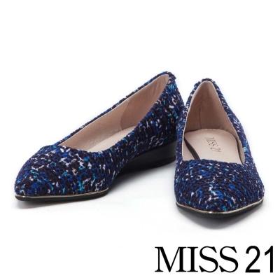 跟鞋 MISS 21 優雅復古油畫感暈染壓紋尖頭跟鞋-藍