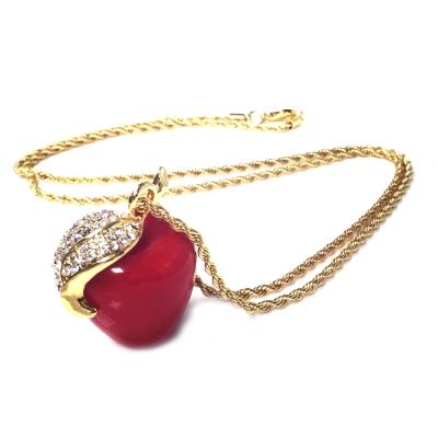Kenneth Jay Lane 好萊塢巨星最愛 蘋果項鍊 鑲K金水晶葉子 亮紅 附原廠盒