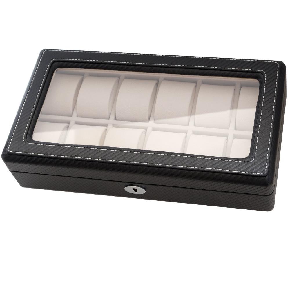 PARNIS BOX 碳纖維12格透明蓋 錶盒禮物 附鎖 碳纖02