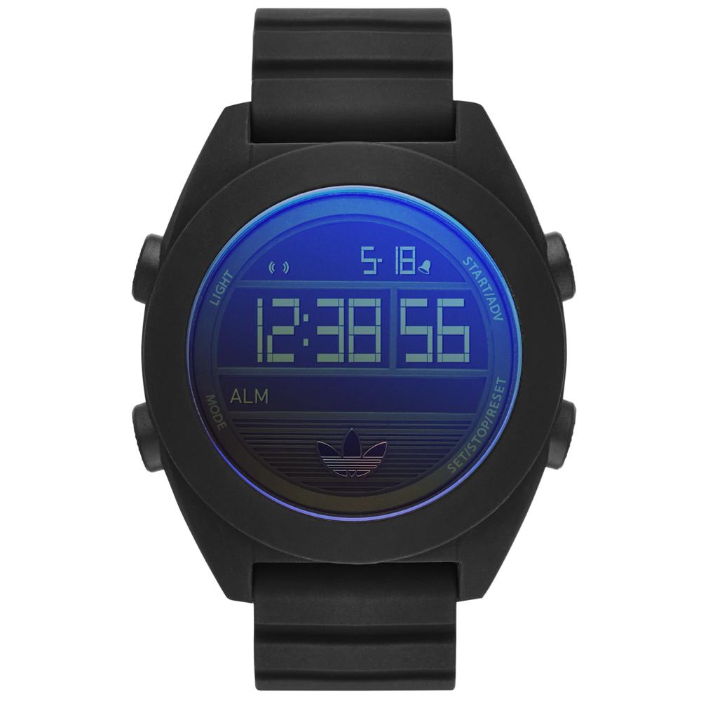 adidas線條創造三葉圓框數位腕錶-黑x藍面48mm