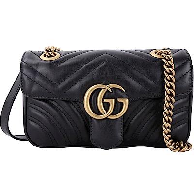 GUCCI GG Marmont 山型絎縫皮革雙鍊肩背包(黑色)
