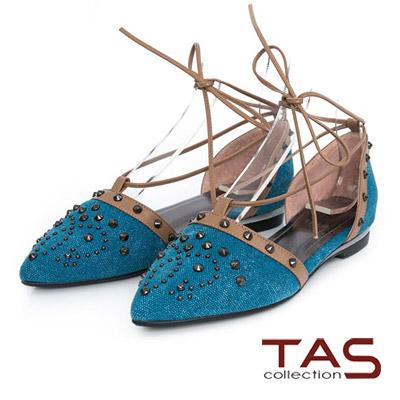 TAS-牛仔鉚釘綁繩繫帶尖頭鞋-時尚藍