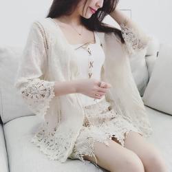 La Belleza繡花鉤織棉麻繫帶鏤空七分袖蕾絲外套