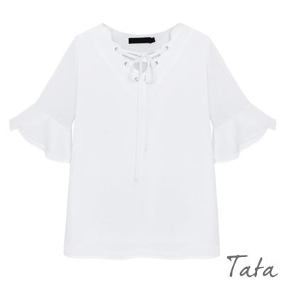 領口綁帶荷葉袖雪紡上衣 中大尺碼 TATA