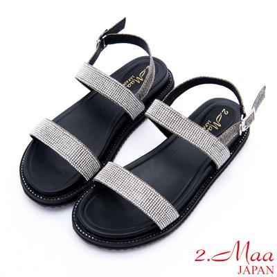2.Maa - 黑曜設計水鑽釦帶休閒涼鞋 - 黑