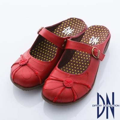 DN 養身氣墊 全真皮優雅舒適楔型拖鞋 紅